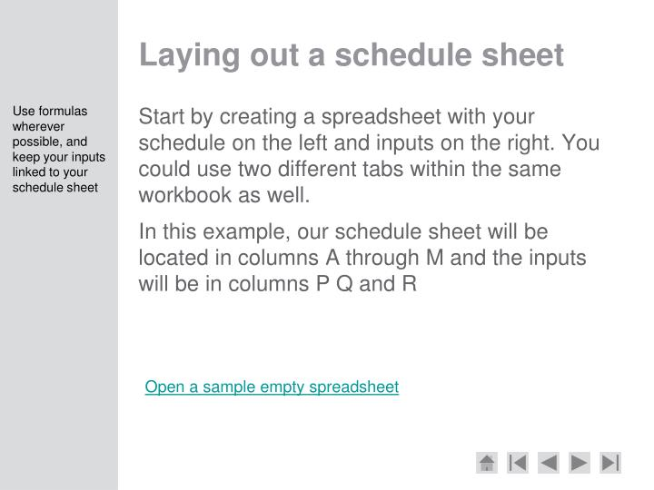 Laying out a schedule sheet