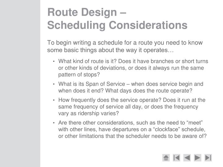 Route Design –