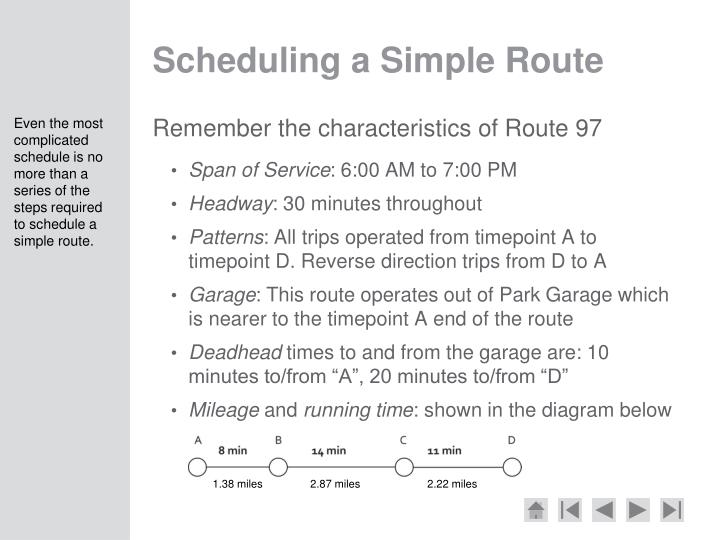 Scheduling a Simple Route