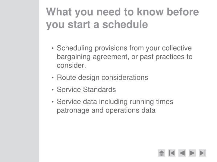 What you need to know before you start a schedule