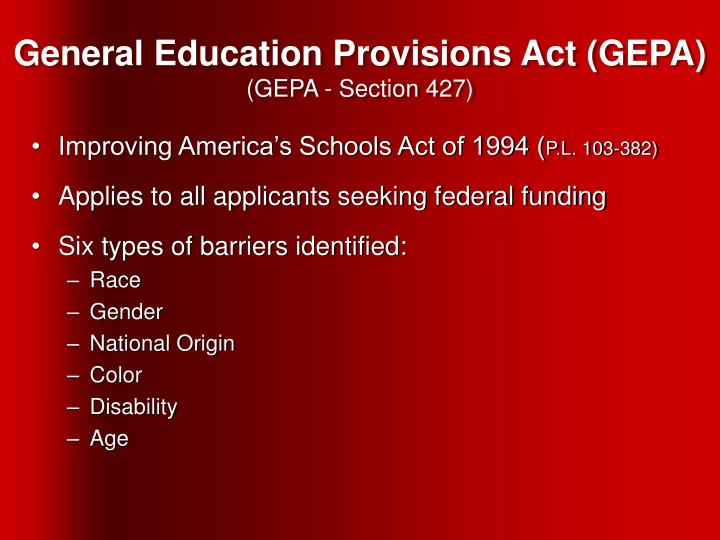 General Education Provisions Act (GEPA)