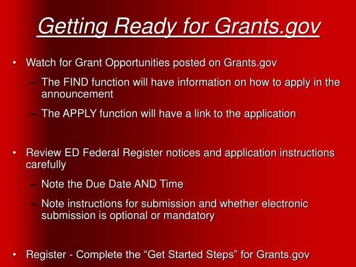 Getting Ready for Grants.gov