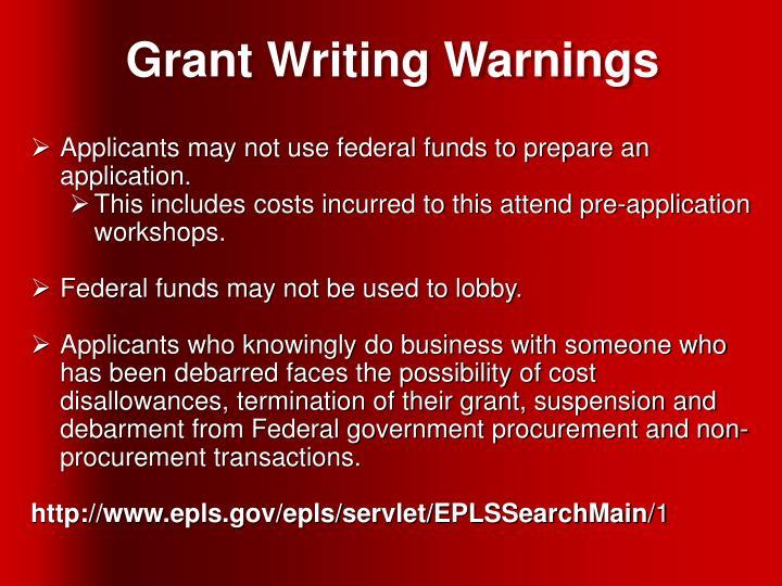 Grant Writing Warnings