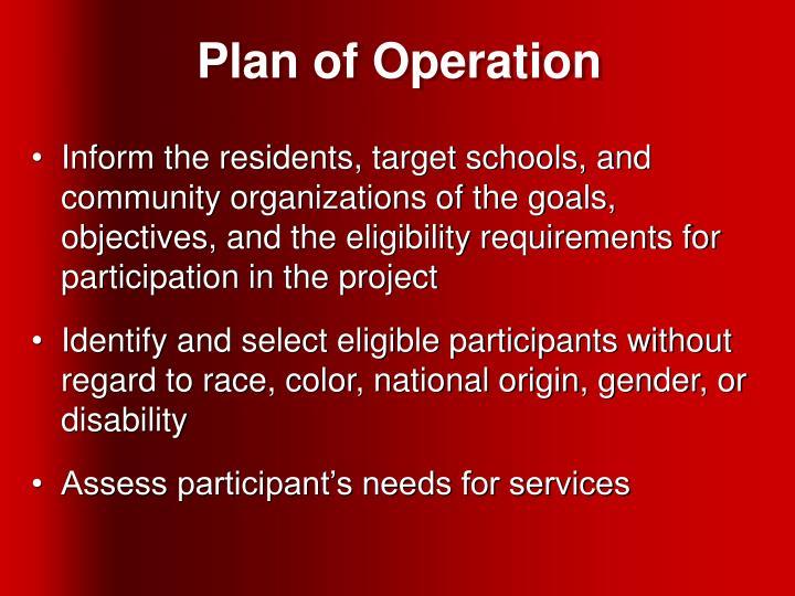 Plan of Operation