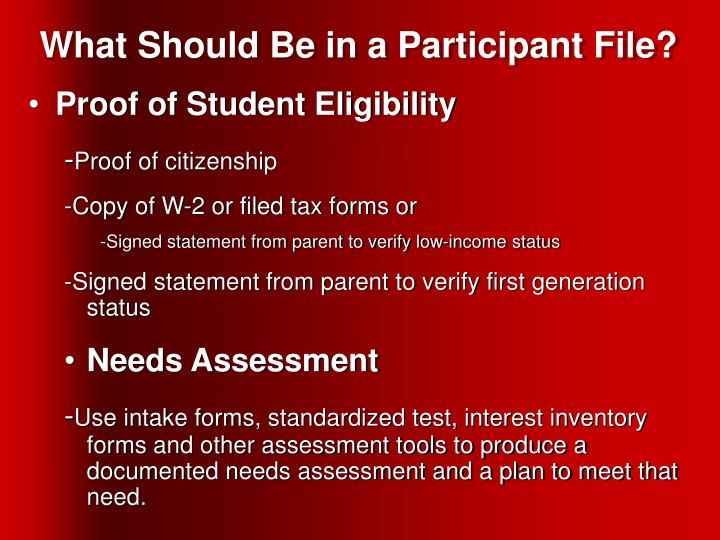 What Should Be in a Participant File?