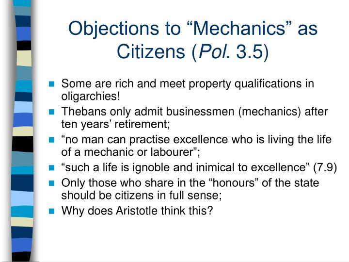 "Objections to ""Mechanics"" as Citizens ("