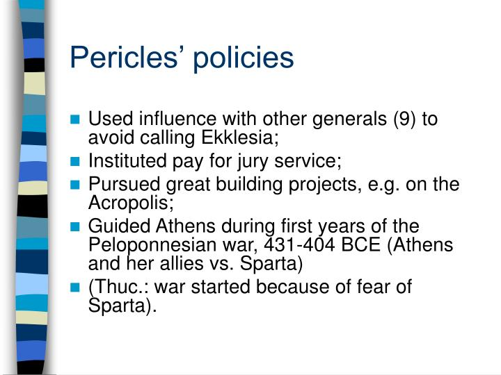 Pericles' policies