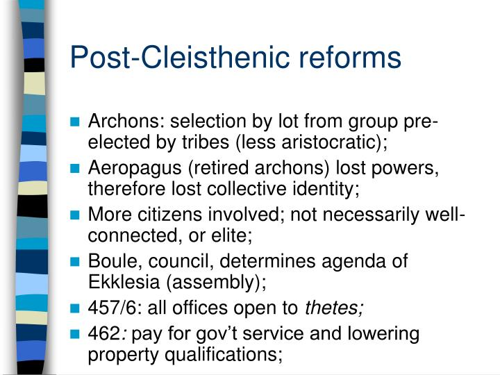 Post cleisthenic reforms