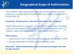 geographical scope of authorisation