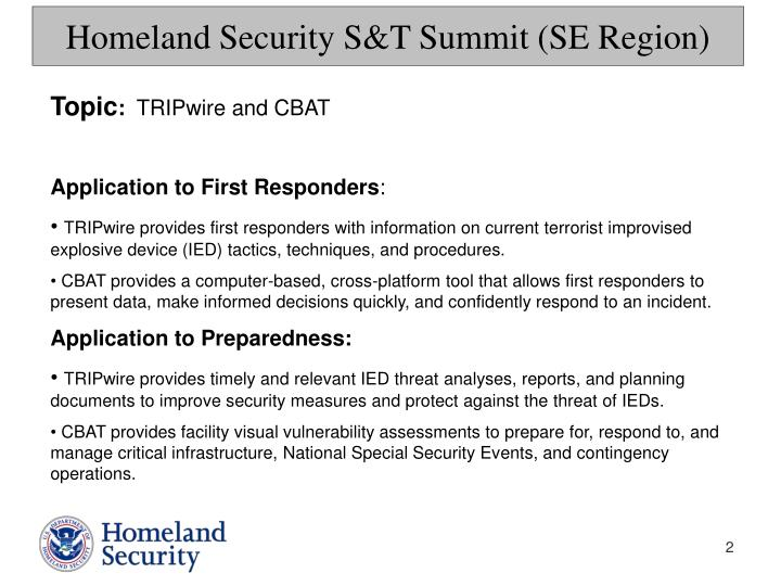 Homeland security s t summit se region1