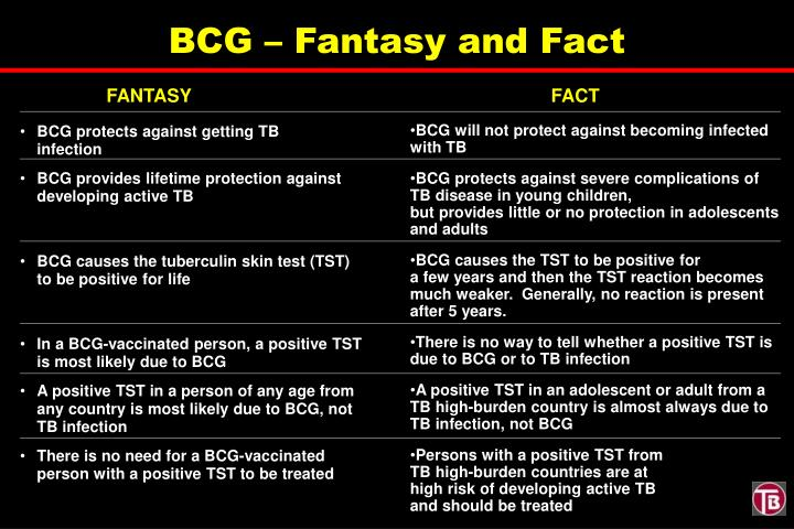 BCG – Fantasy and Fact