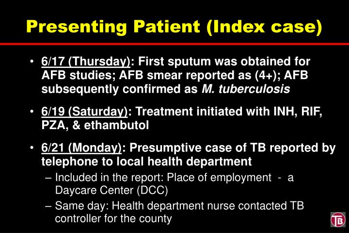 Presenting Patient (Index case)