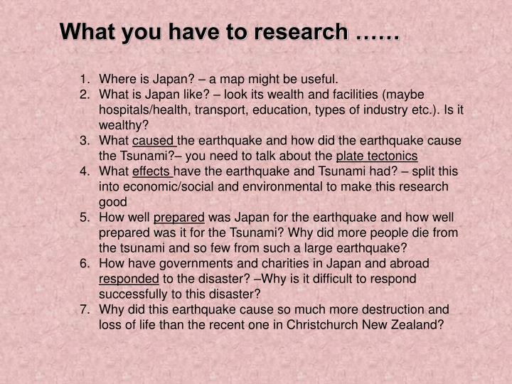 What you have to research ……