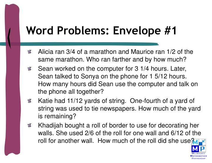 Word Problems: Envelope #1