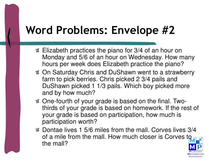 Word Problems: Envelope #2