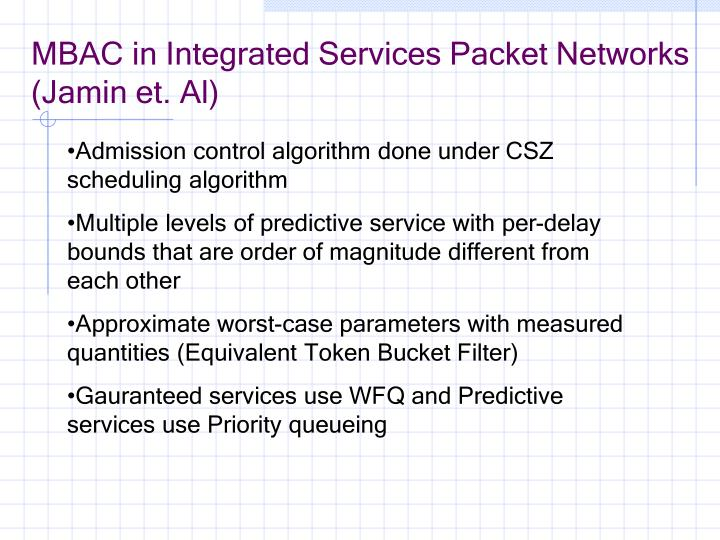 Mbac in integrated services packet networks jamin et al