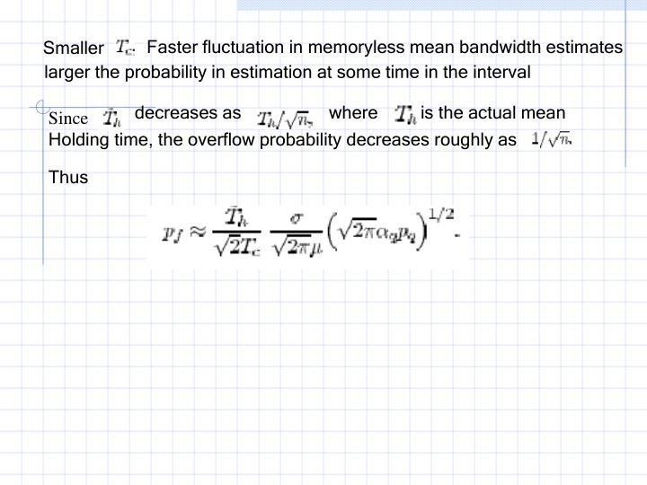 Faster fluctuation in memoryless mean bandwidth estimates