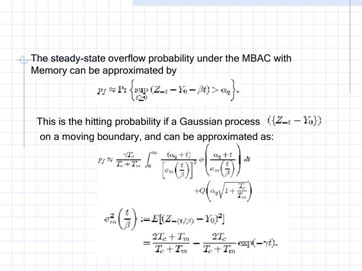 The steady-state overflow probability under the MBAC with