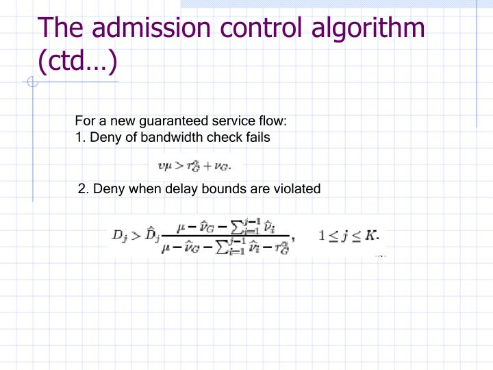 The admission control algorithm (ctd…)
