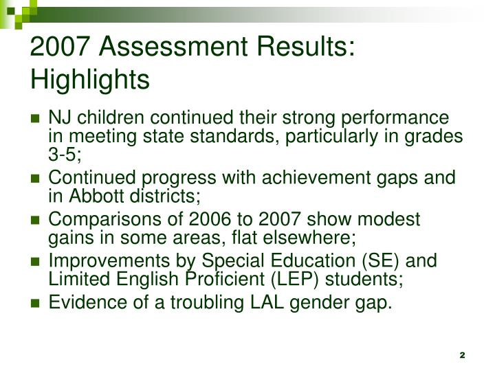 2007 assessment results highlights