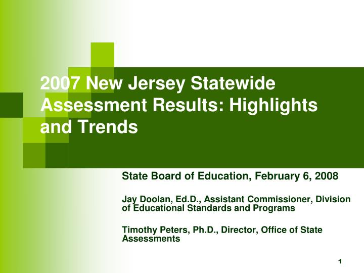 2007 new jersey statewide assessment results highlights and trends