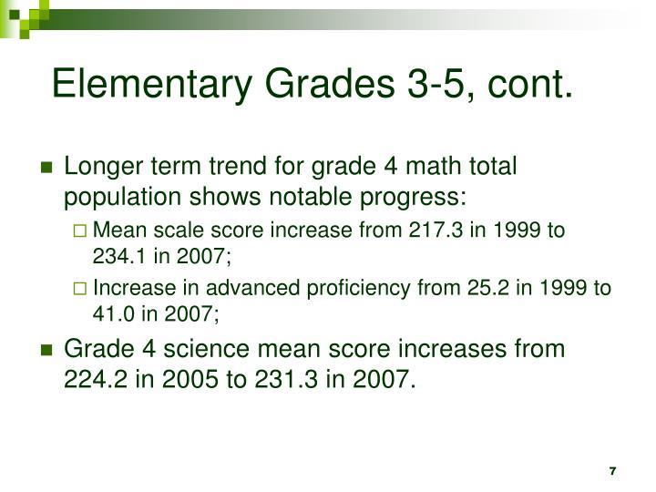 Elementary Grades 3-5, cont.