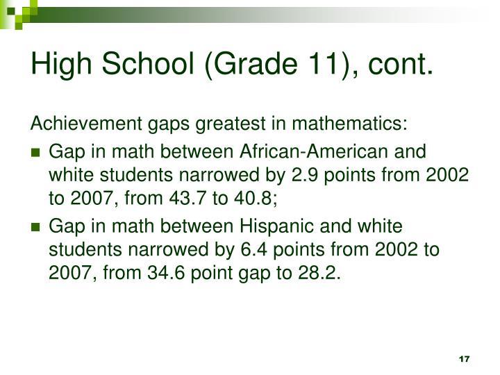 High School (Grade 11), cont.