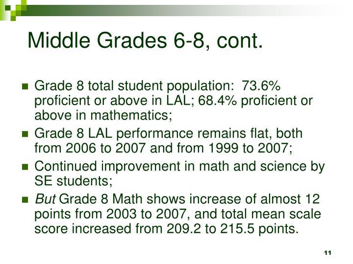 Middle Grades 6-8, cont.