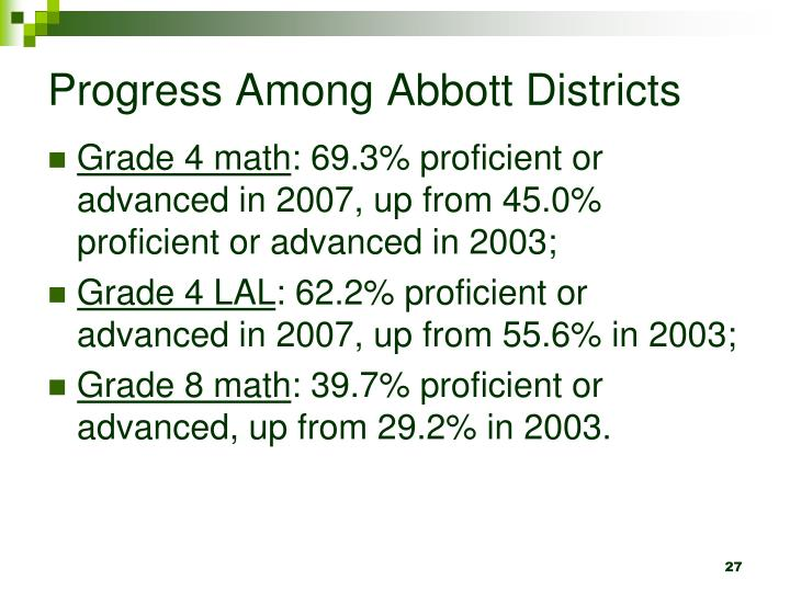Progress Among Abbott Districts