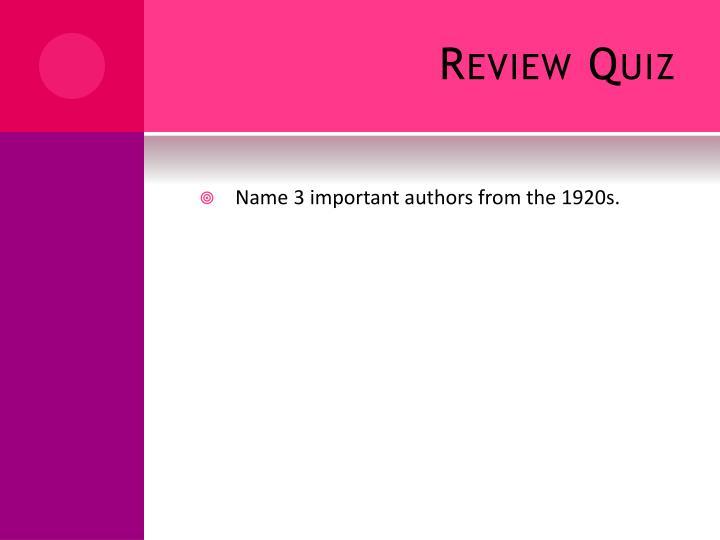 Review Quiz