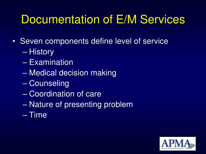 Documentation of E/M Services
