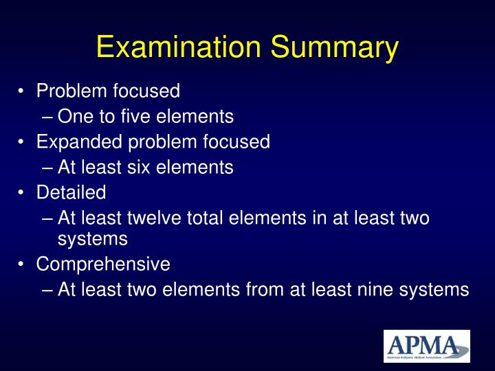 Examination Summary
