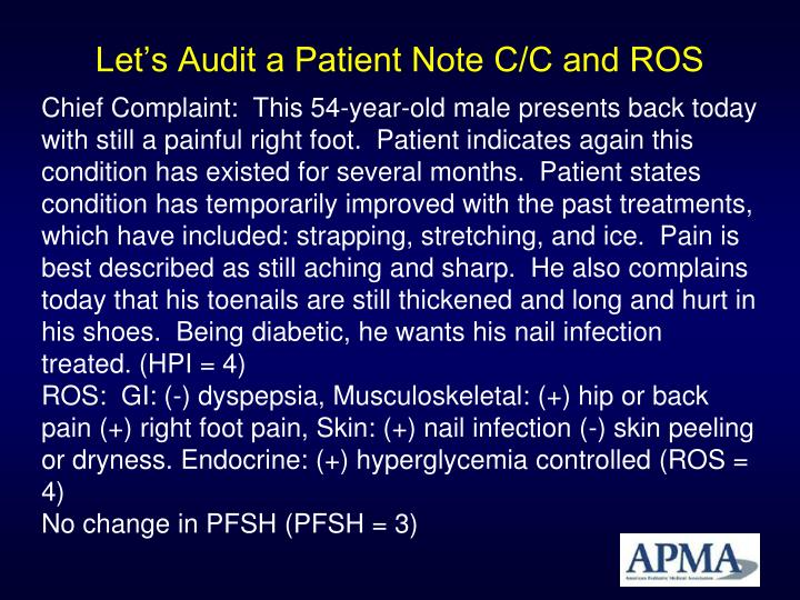 Let's Audit a Patient Note C/C and ROS