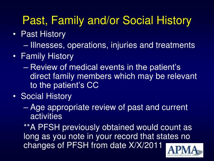 Past, Family and/or Social History