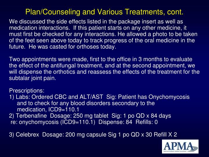 Plan/Counseling and Various Treatments, cont.