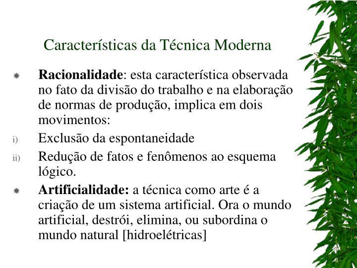Caracter sticas da t cnica moderna