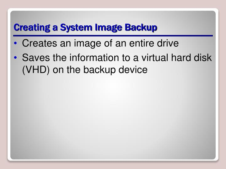 Creating a System Image Backup