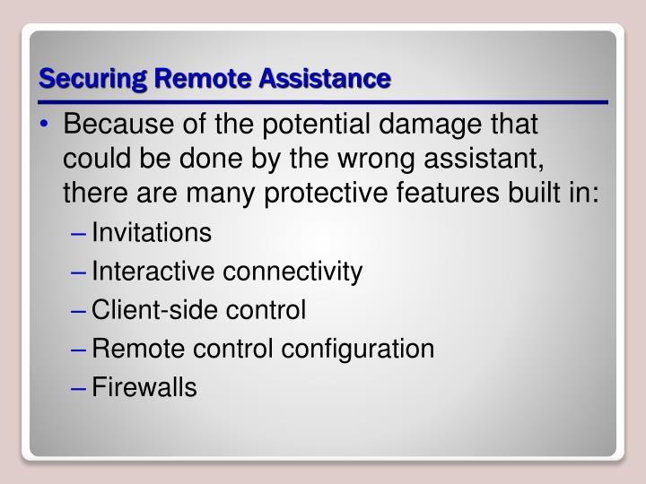 Securing Remote Assistance