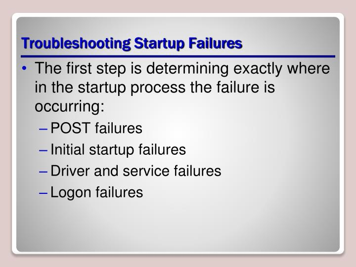 Troubleshooting Startup Failures