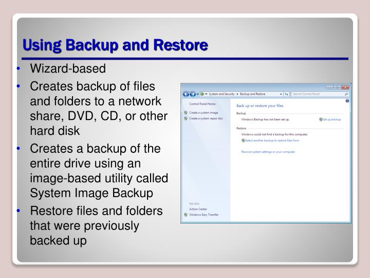 Using Backup and Restore