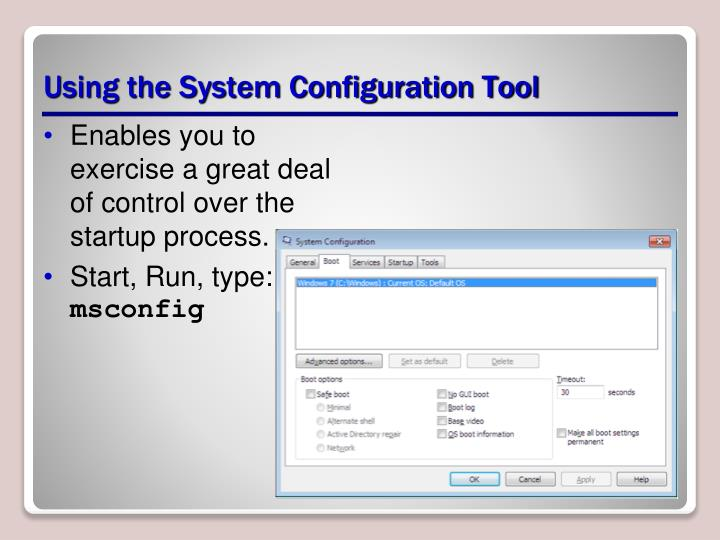 Using the System Configuration Tool