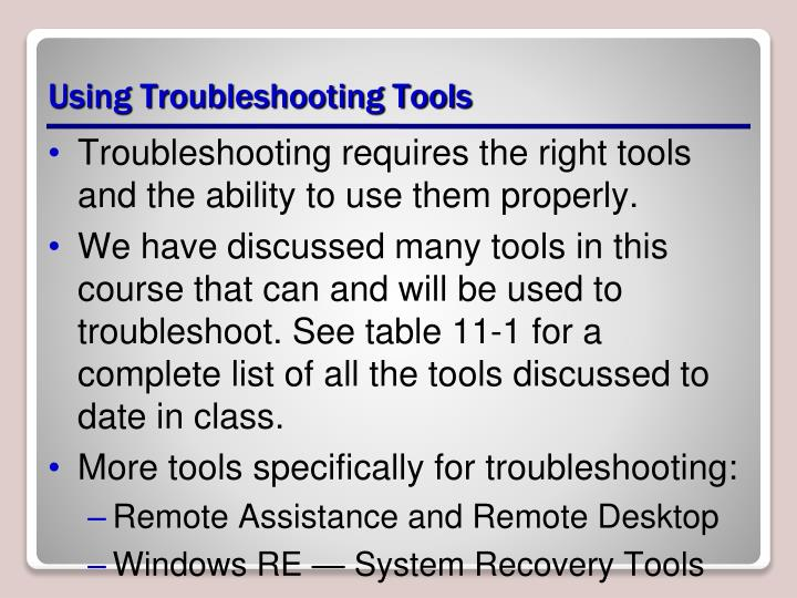 Using Troubleshooting Tools