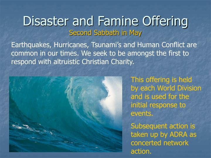Disaster and Famine Offering