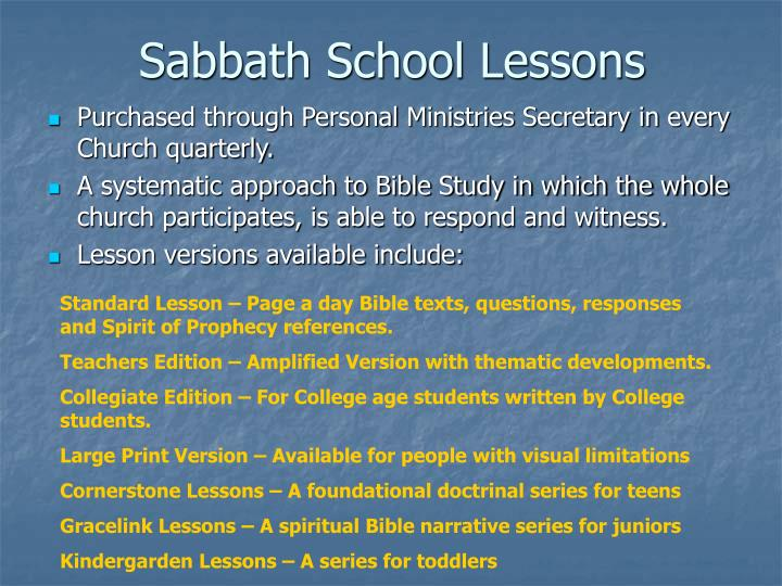 Sabbath School Lessons
