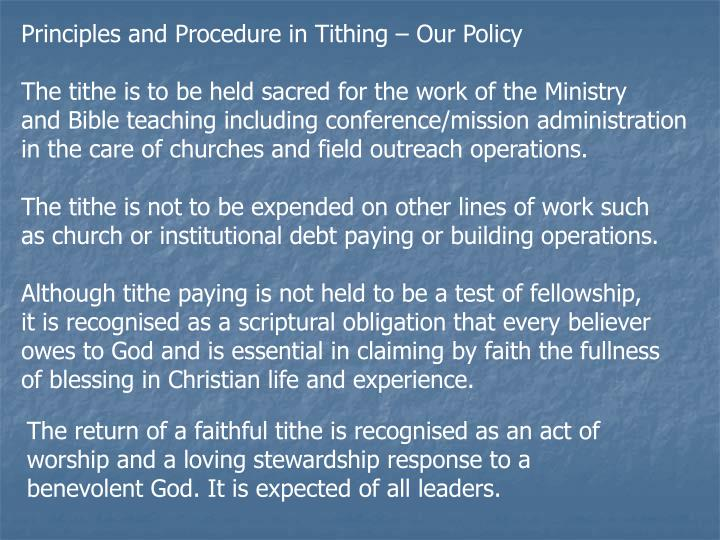 Principles and Procedure in Tithing – Our Policy