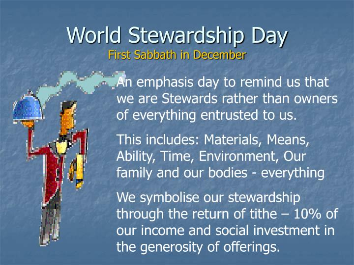 World stewardship day first sabbath in december