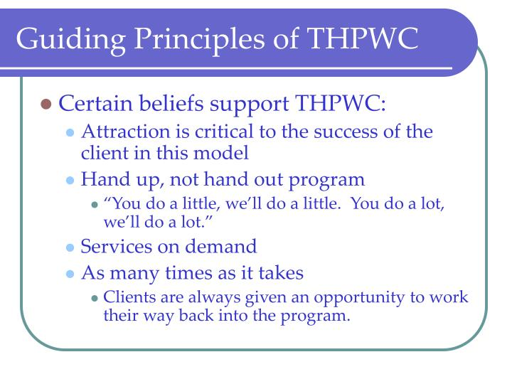 Guiding Principles of THPWC