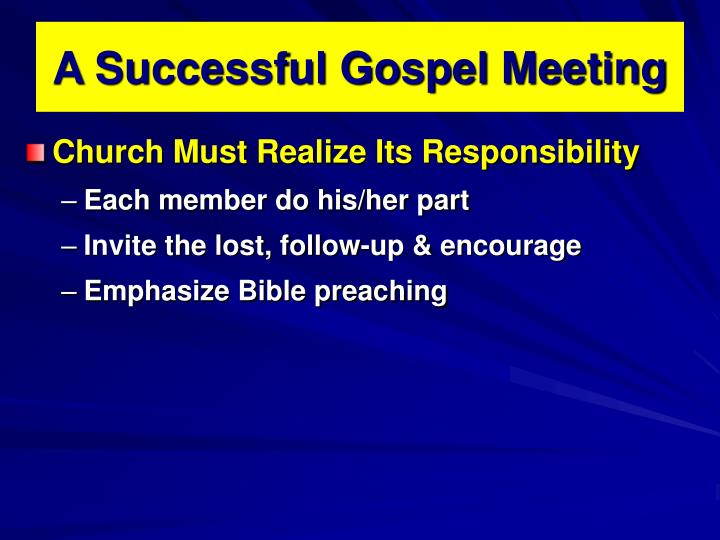 A successful gospel meeting1