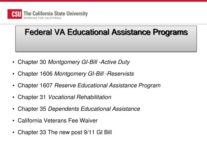 Federal VA Educational Assistance Programs