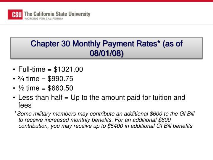 Chapter 30 Monthly Payment Rates* (as of 08/01/08)